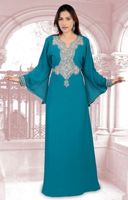 Teal embroidered georgette islamic-kaftans
