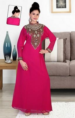Dark-rani-pink embroidered georgette islamic-kaftans