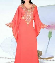 Light-peach embroidered georgette islamic-kaftans