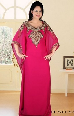 Rani-pink embroidered georgette islamic-kaftans
