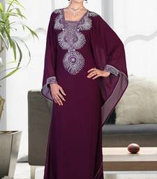 Wine embroidered georgette islamic-kaftans