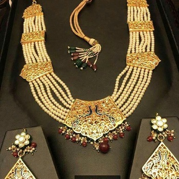 Multicolor Pearl Royal 22K Gold Plated Ranihaar Necklace Sets