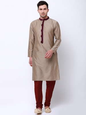 Svanik Beige Blended Striped Classic Long Kurta