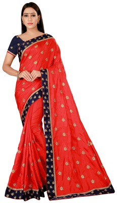 Red art Silk Embroidered Saree With Unstiched Blouse