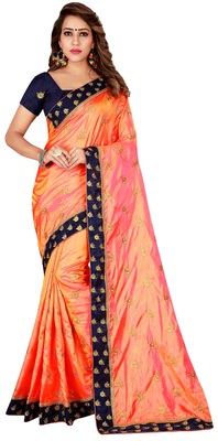 Orange art Silk Embroidered Saree With Unstiched Blouse