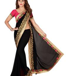 Black Georgette Embroidered Saree With Unstiched Blouse