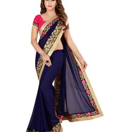 Blue Georgette Embroidered Saree With Unstiched Blouse