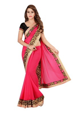 Pink Georgette Embroidered Saree With Unstiched Blouse