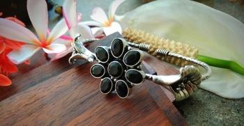 Black Kundan Stone German Silver Bracelet