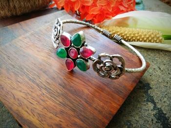Green & Pink Kundan Stone German Silver Bracelet