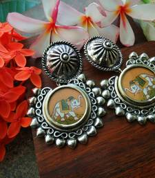 Rounf Photoframe Airavat Handcrafted German Silver Earrings With Studs