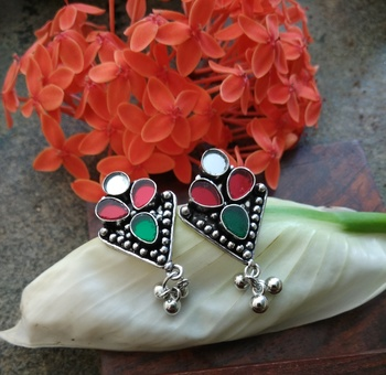 Multicolored Glass Ear Studs With German Silver Hangings