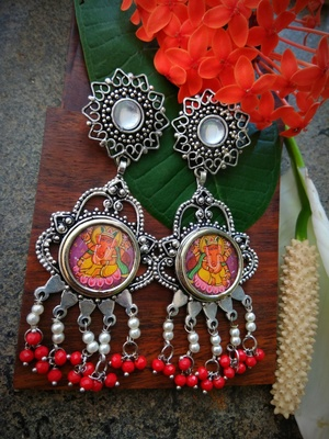 Long Ganpati Photoframe German Silver Dangler With White & Red Hangings