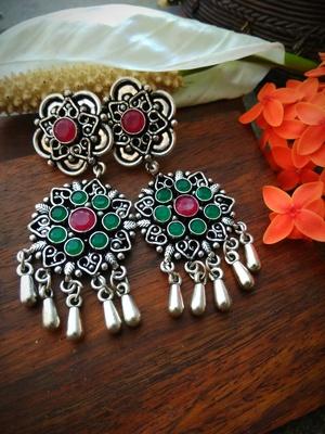 Green & Pink Kundan Stone German Silver Earrings