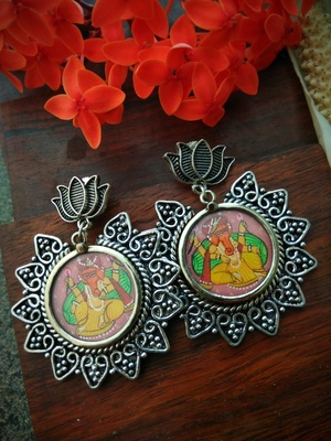 Lotus Stud With Sunflower Shaped Photoframe Ganpati Earrings