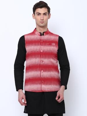 Svanik Maroon Self Design Cotton Waistcoat.