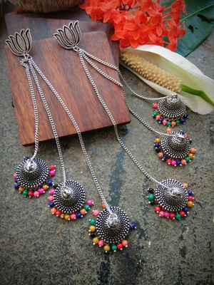 Multilayered Jhumka with lotus studs