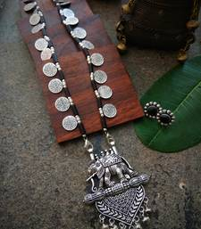 Long Elephant pendant coin beaded necklace interlaced with black stone beads & matching earring