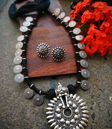 Black tassle sunflower pendant coin interlaced necklace with German silver studs