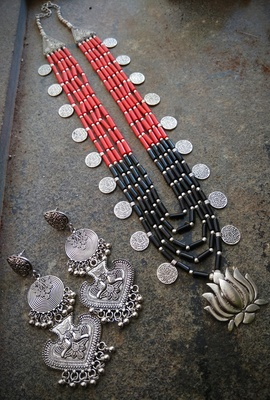 5 layered lotus pendant Red& black stone beaded necklace set  with long danglers
