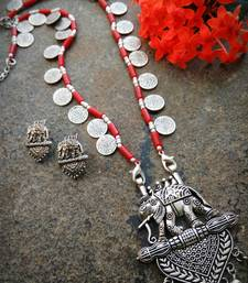 Long Elephant pendant coin beaded necklace interlaced with red stone beads & matching earring