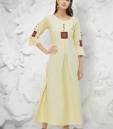 Cream Khadi Fancy Designer Kurtis