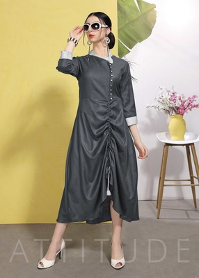 Dark Grey Wrinkle Free Cotton Fancy Designer Kurtis