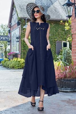 Navy Blue Cotton Fancy Designer Kurtis
