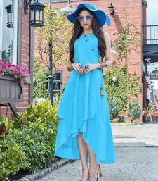Turquoise Blue Cotton Fancy Designer Kurtis