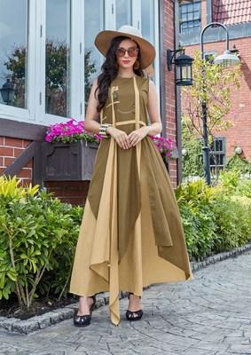 Brown and Beige Cotton Fancy Designer Kurtis