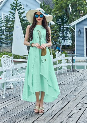 Aqua Blue Cotton Fancy Designer Kurtis