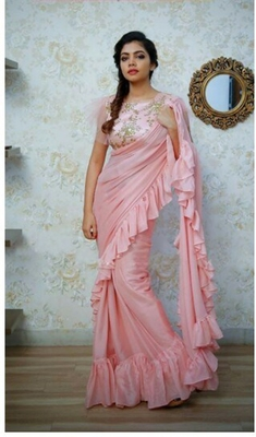 baby pink embroidered silk saree with blouse