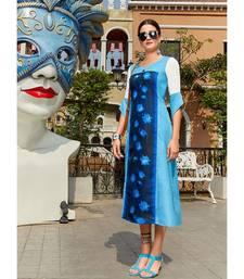 Blue Poly Linen Fancy Designer Kurtis