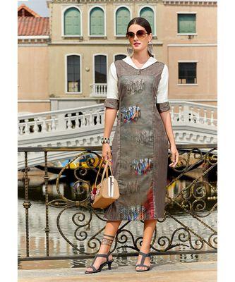 Grey Poly Linen Fancy Designer Kurtis