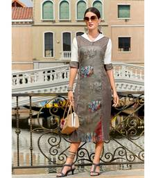 Grey Poly Linen Fancy Designer Kurtis