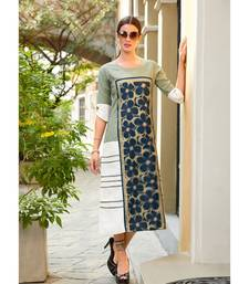 Light Green and White Poly Linen Fancy Designer Kurtis