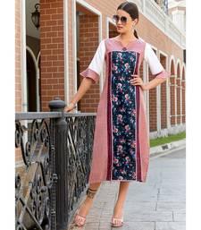 Pink and Navy Blue Poly Linen Fancy Designer Kurtis