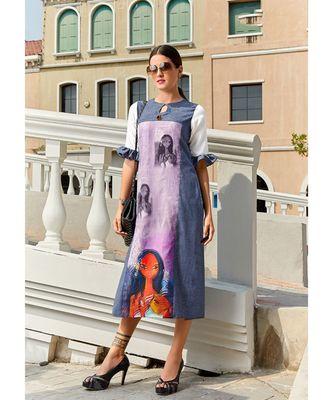 Blue and Purple Poly Linen Fancy Designer Kurtis