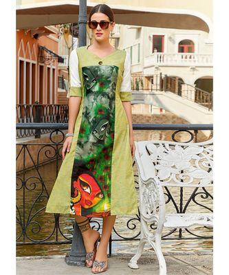 Green Poly Linen Fancy Designer Kurtis