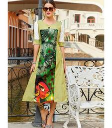 Green Poly Linen Fancy Designer Kurtis