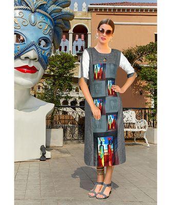 Dark Grey Poly Linen Fancy Designer Kurtis