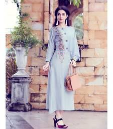 Blue Soft Fluid Silk Fancy Designer Kurtis