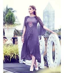 Dark Purple Soft Fluid Silk Fancy Designer Kurtis