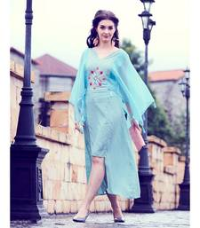 Sky Blue Soft Fluid Silk Fancy Designer Kurtis