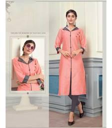 Peach Khadi Cotton Fancy Designer Kurtis