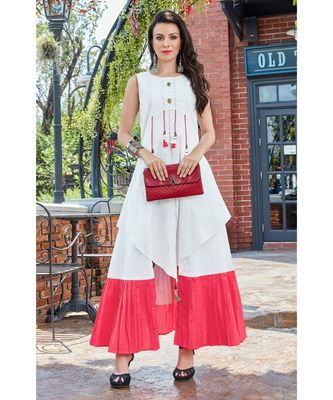White and Pink Cotton Fancy Designer Kurtis