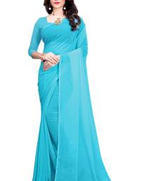 Turquoise plain faux georgette saree with blouse