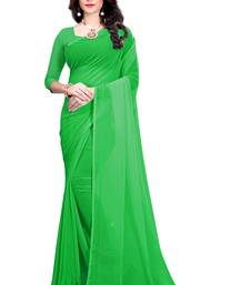 Light green plain faux georgette saree with blouse