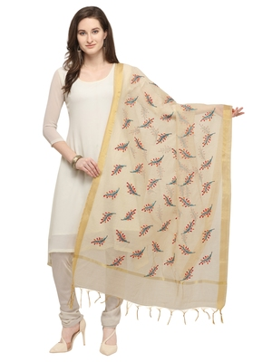 Beige Cotton Silk Embroidered Womens Dupatta