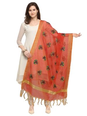Orange Cotton Silk Embroidered Womens Dupatta